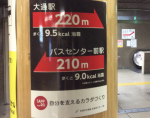 北海道札幌市の地下鉄大通駅とバスセンター前駅えおつなぐ地下通路の距離表示の写真