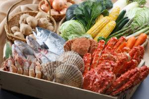 北海道産の魚介類や野菜の写真